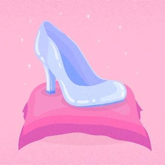 Cinderella glass show on pink pillow