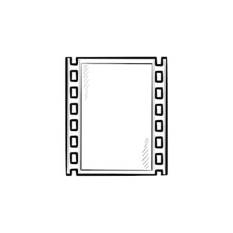 Кинопленка рисованной наброски каракули значок. движение фильма, старый старинный фильм кадр вектор эскиз иллюстрации для печати, интернета, мобильных и инфографики, изолированные на белом фоне.