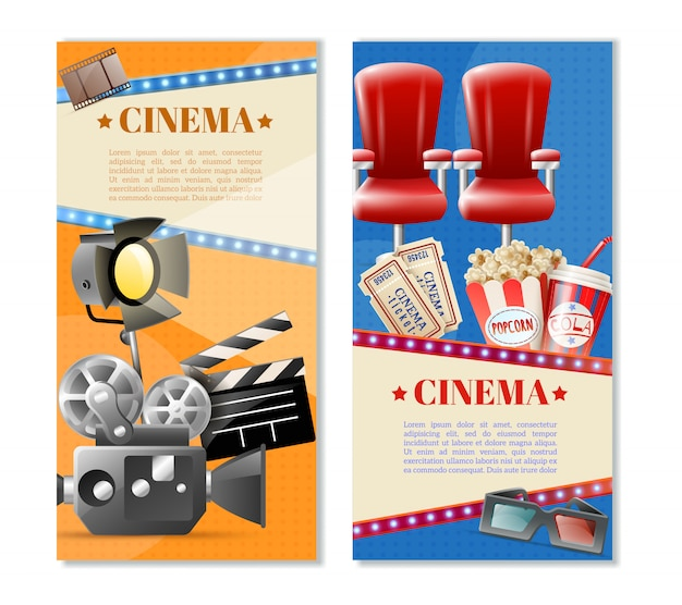 Cinema 2 vertical banners set
