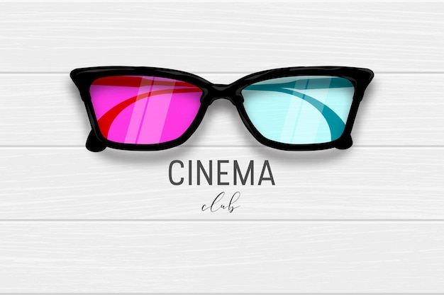 Кинотеатр 3d очки деревянный баннер реалистичная деревянная текстура баннер стиль жизни развлечения дизайн