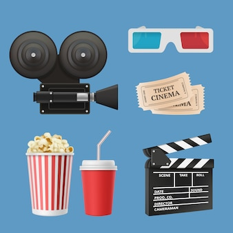 Cinema 3d icons. movie camcorder clapperboards film tape and stereo glasses  realistic objects isolated