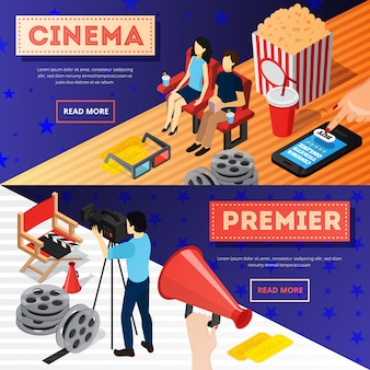 Cinema 3d isometric banners with conceptual images of popcorn film reel online tickets and camera operator