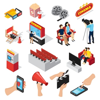 Cinema 3d isometric set of isolated ticket office seats people popcorn and smartphone ticketing app icons