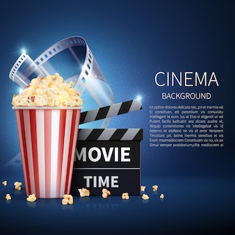 Cinema 3d movie background with popcorn and vintage film.
