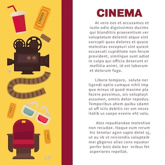 Cinema advertisement banner with symbolic cinematographic equipment