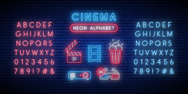 Cinema and alphabet neon sign set.
