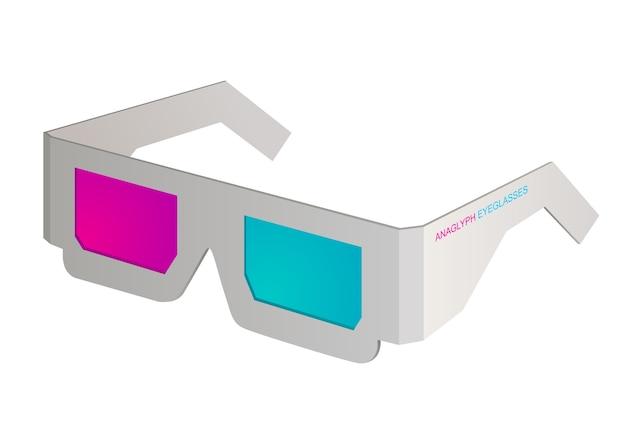 Cinema anaglyph eyeglasses on white.