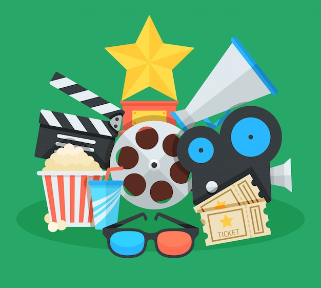 Кино и кино иллюстрации шаржа. награды, билеты, мегафон и другие красочные объекты плоские векторные иконки коллаж.