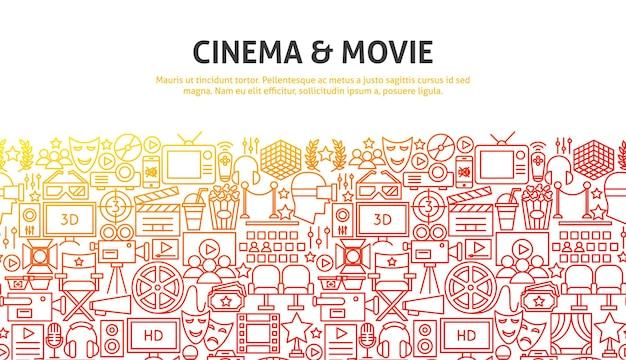 Кино и концепция кино. векторная иллюстрация дизайна веб-сайта линии. шаблон баннера.