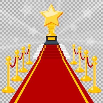Концепция кино и кино с плоскими иконами красной ковровой дорожки, изолированной на прозрачном фоне