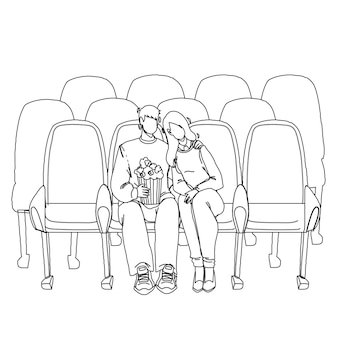 Cinema audience man and woman watching film black line pencil drawing vector. boyfriend and girlfriend watch romantic or comedy movie in cinema and eating popcorn together. characters illustration