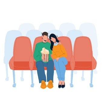Cinema audience man and woman watching film vector. boyfriend and girlfriend watch romantic or comedy movie in cinema and eating popcorn together. characters flat cartoon illustration