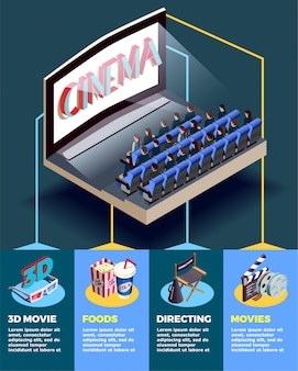 Cinema auditorium isometric infographics