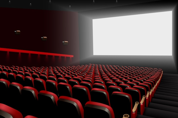 빨간 좌석과 흰색 빈 화면이있는 영화관 강당