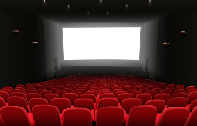Cinema auditorium with white blank bright screen