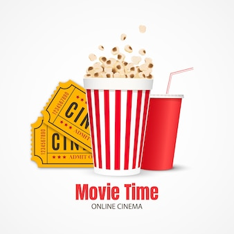 Cinema background film industry objects tickets popcorn and drink