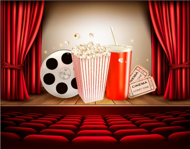 영화 릴, 팝콘, 음료 및 티켓이 있는 영화 배경. 벡터.