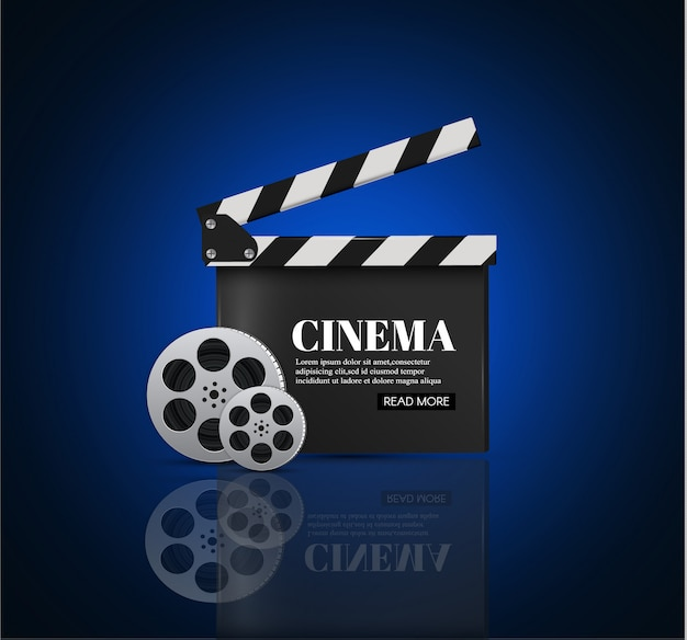 Cinema background with movie.blue background with light star.clapper board.