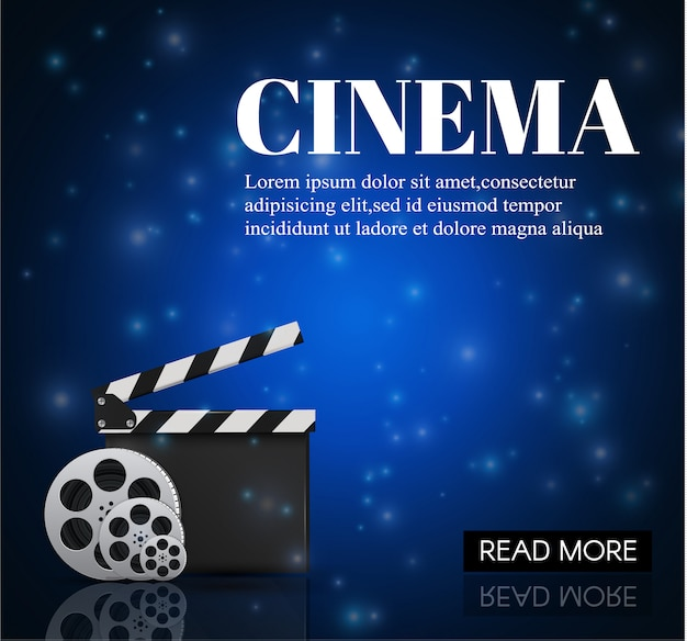 Cinema background with movie.blue background with light star. clapper board.