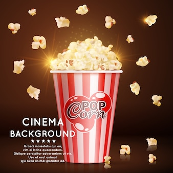 Cinema background with realistic popcorn
