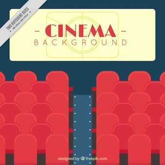 Cinema background with red seats and screen