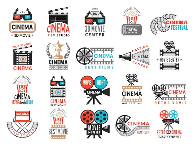 Cinema badges. movie production symbols camera director chair film tape logo collection