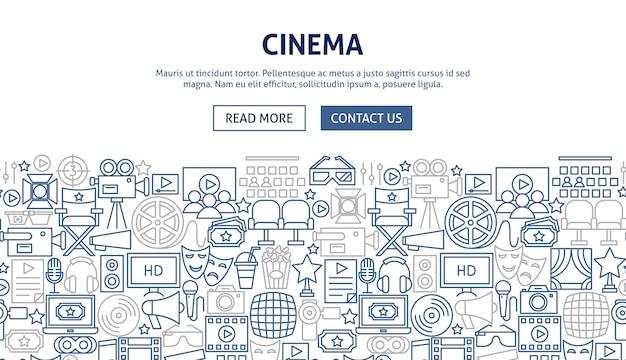 Дизайн баннера кино. векторная иллюстрация веб-концепции линии.