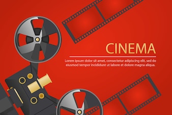 Cinema banner with old school vintage camera and reel of film on red background