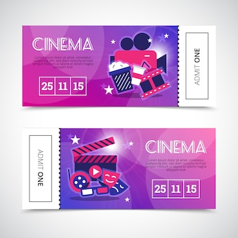 Cinema banners in colorful theatre ticket form with camera masks popcorn 3d glasses signs