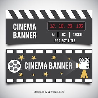 Cinema banners with camera and stars