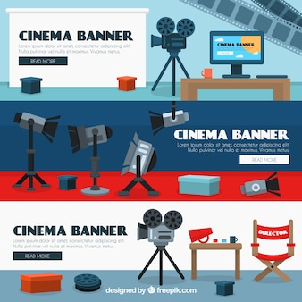 Cinema banners with cameras and spotlights