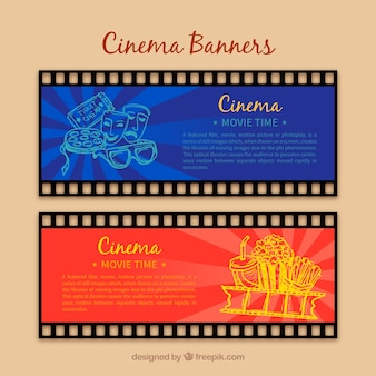 Cinema banners with sketches of movie elements