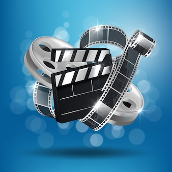 Cinema blue background with 3d realistic tape and clapperboard.