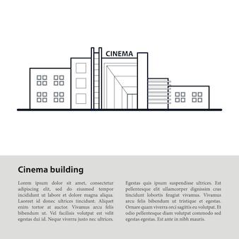 Cinema building. dark blue outline drawing.
