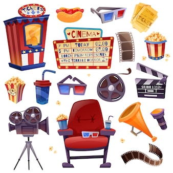 Cinema cartoon set