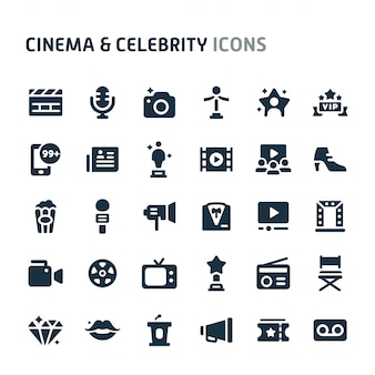 Cinema & celebrity icon set. fillio black icon series.