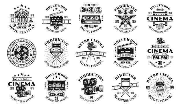 Cinema and cinematography set of fifteen vector emblems, labels, badges or logos in monochrome vintage style isolated on white background