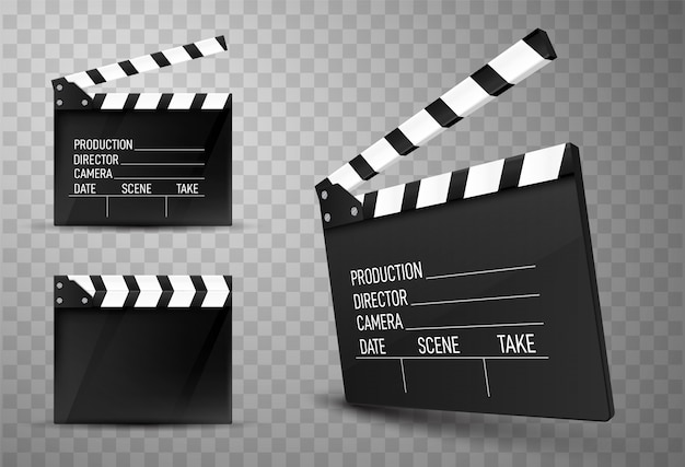Cinema clapper boards isolated. movie clappers