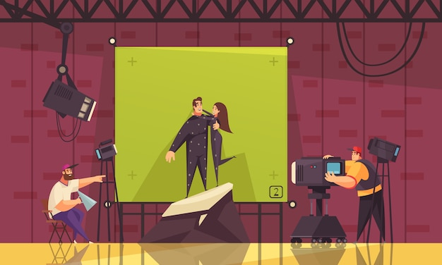 영화 감독 촬영 외계인 커플 포옹과 영화 코미디 판타지 로맨스 장면 만화 스타일 구성