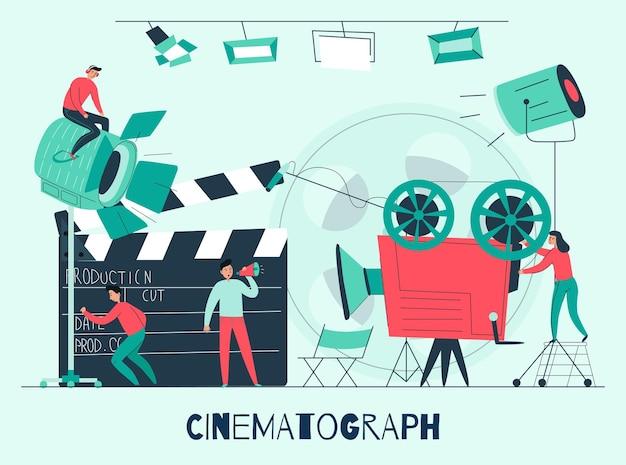 Composizione cinematografica con studio cinematografico e squadra di ripresa al lavoro illustrazione piatta