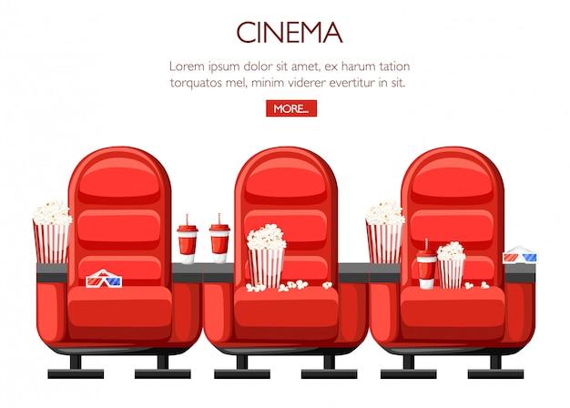 Концепция кино. зрительный зал и три красных удобных кресла в кинотеатре. напитки и попкорн, очки для кино. кино сиденья иллюстрации. иллюстрация на белом фоне