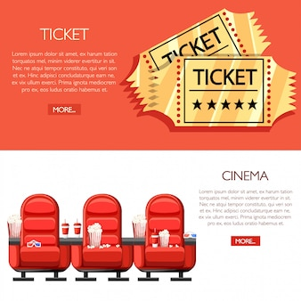 Cinema concept. auditorium and three red comfortable armchairs in the cinema. drinks and popcorn, glasses for movie. cartoon cinema golden tickets.  illustration on white and red background