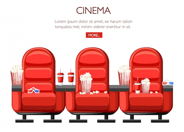 Cinema concept. auditorium and three red comfortable armchairs in the cinema. drinks and popcorn, glasses for movie.  cinema seats illustration.  illustration on white background