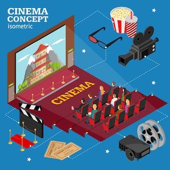 Cinema concept interior auditorium isometric view with public and film. vector illustration