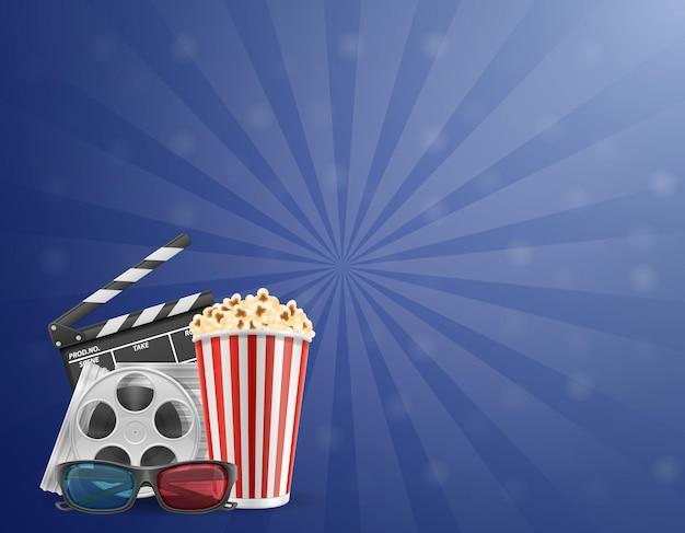 Билеты на кинотеатр с попкорном и 3d-очки для просмотра стоковой иллюстрации