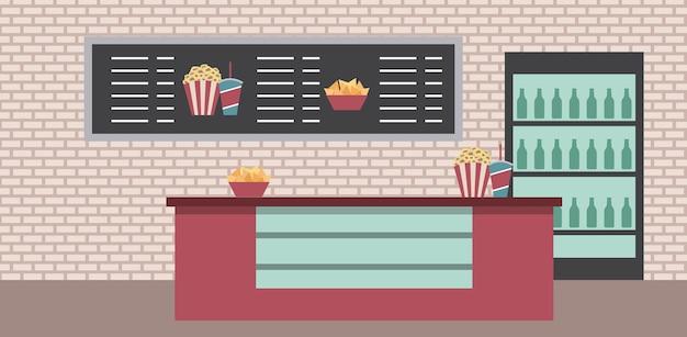 Cinema counter cooler sodas popcorn snacks menu list