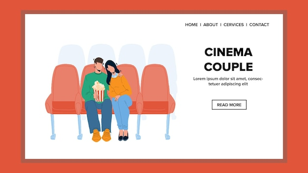Cinema couple visitors resting together vector. in cinema couple boyfriend and girlfriend watching film and eat popcorn. characters boy and girl relaxing and watch movie web flat cartoon illustration