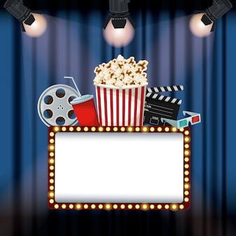 Занавес кино с прожекторами рекламный щит с кинофильмом