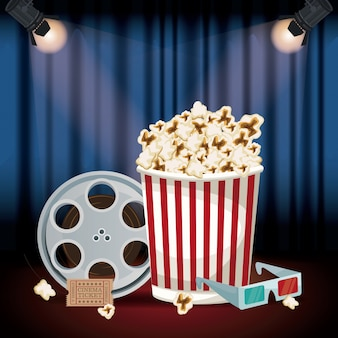 Cinema curtain with spotlights and film reel and popcorn pack and soda