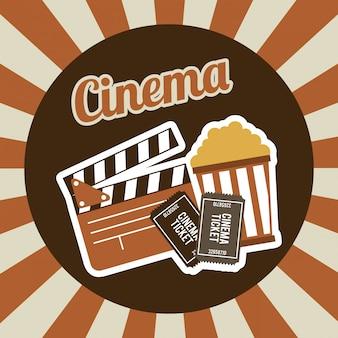 Cinema design over stripes background vector illustration